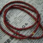 Long red matte czech glass necklace can be worn as a single or double strand necklace or as a five strand wrap bracelet.